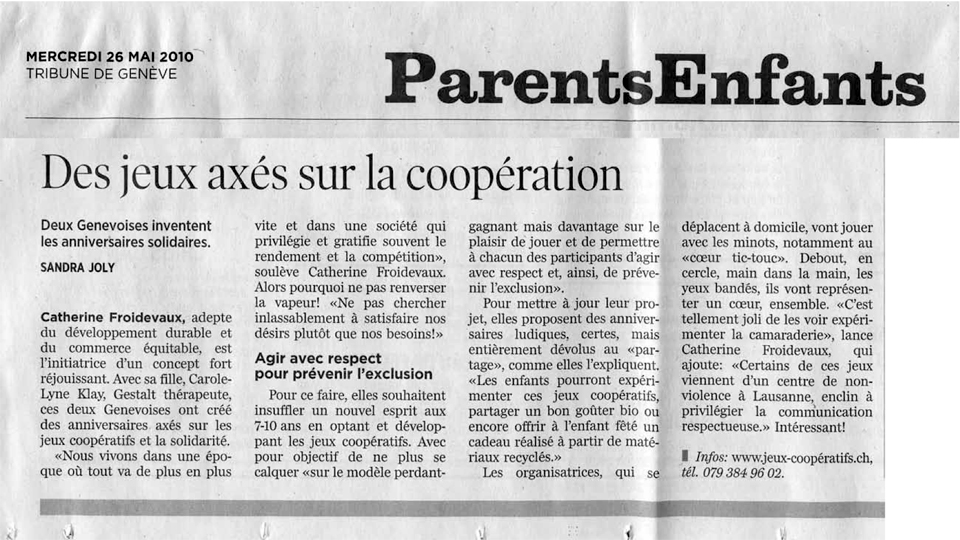 Article Tribune 26 mai 2010 sur nos jeux coopératifs, rédigé par Sandra Joly