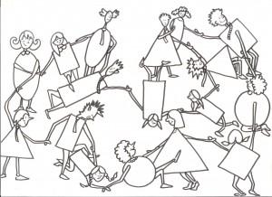Illustration du jeu du nœud pour Team building