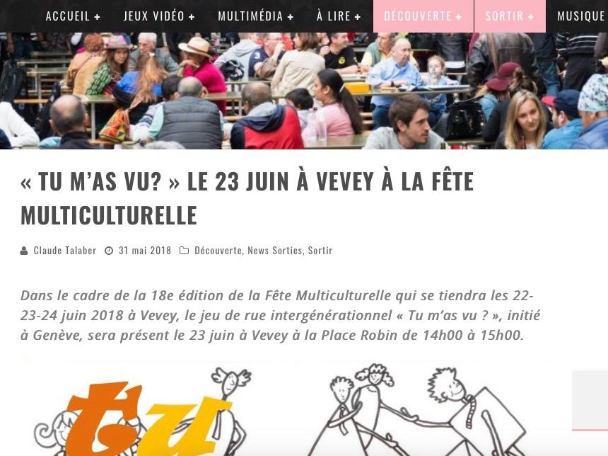 """Article daily-passions """"Tu m'as vu?"""" à la fête multiculturelle à Vevey"""