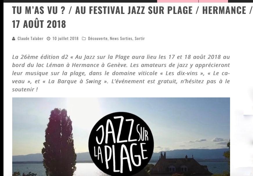 """Article daily-passions """"Tu m'as vu?"""" au festival Jazz sur la plage"""