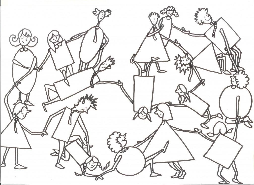 Illustration du jeu du nœud pour Team building Jeux Coopératifs