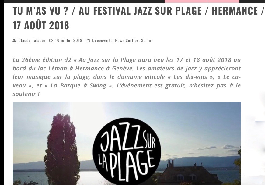 "Article daily-passions ""Tu m'as vu?"" au festival Jazz sur la plage"