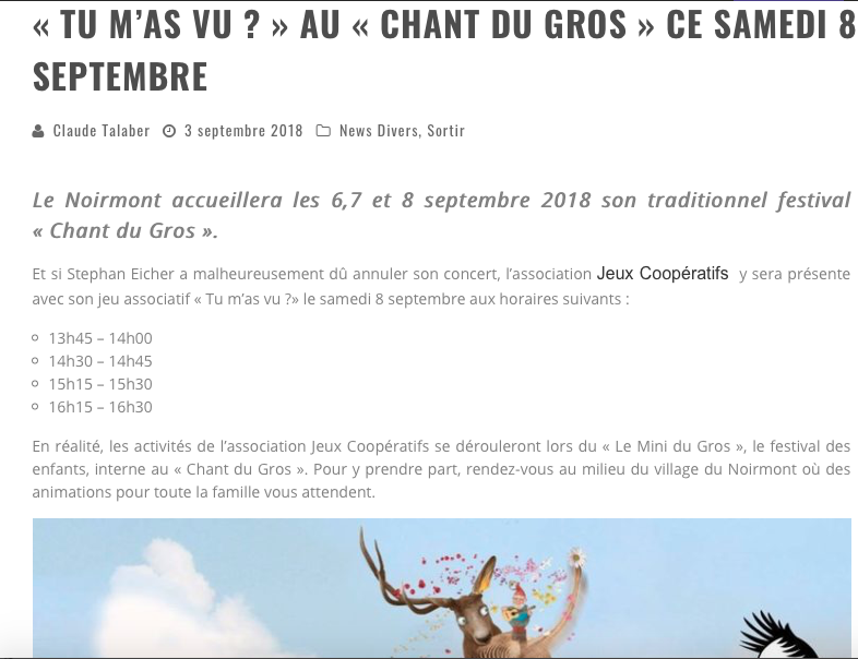 "Article daily-passions ""Tu m'as vu ?"" au Mini du Gros, festival des enfants, interne au Chant du Gros"